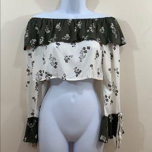 BONGO Floral Crop Long Sleeve Bell Cuff Shirt Sz S